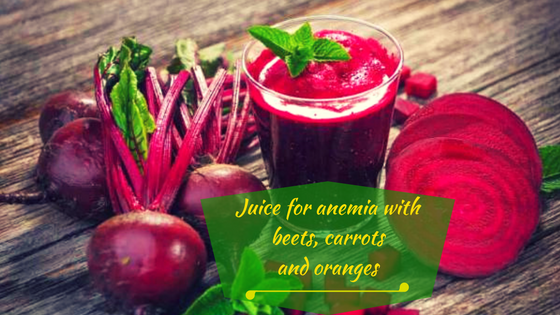Juice for anemia with beets, carrots and oranges