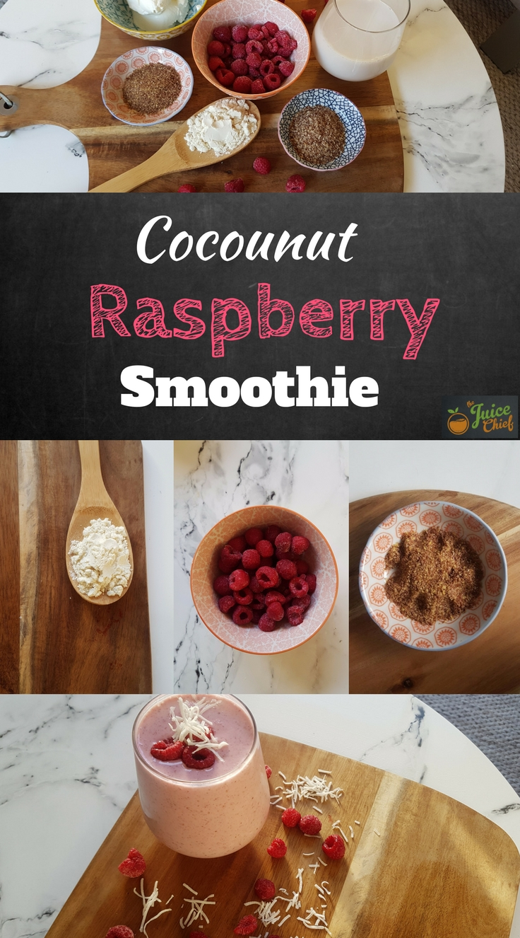 Cocounut and Raspberry Smoothie Title Image Pic