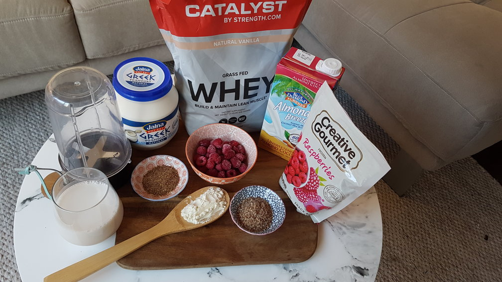 Ingredients for coconut raspberry smoothie